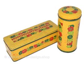 Brocante conjunto de latas Verkade con decoración de capuchinas