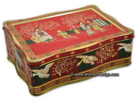 Tea tin with Chinese images