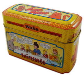 Vintage WASA bewaarblik voor knäckebröd met Jan, Jans en de kinderen