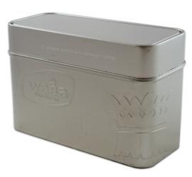 WASA baked since 1919. Boîte étain de rangement couleur argent