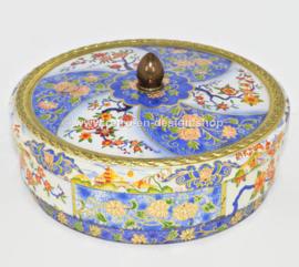 Vintage Albert Heijn lata de galletas redonda azul y blanca con decoraciones florales