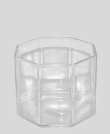 Vintage small wide clear glass vase by Arcoroc France, Octime-clear