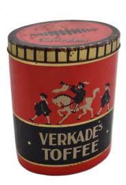 Ovale rood met zwarte snoeptrommel voor toffee's van Verkade