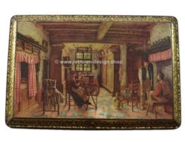 """Vintage snoepblik van Lonka met afbeelding """"De Spinster"""" van Henri de Breakeleer."""