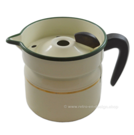 Brocante enamel milk cooker with a green edge and golden piping