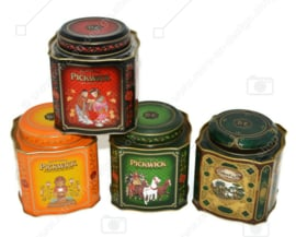 Set of four vintage tea tins for Pickwick Tea by Douwe Egberts