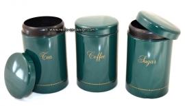 Groene Brabantia vintage voorraadbussen Tea, Coffee, Sugar