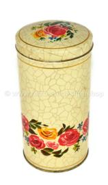 Lata para galletas color crema con flores y motivo crujido de VERKADE