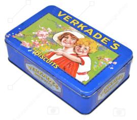 Boîte vintage de Verkade avec mère et enfant au design nostalgique