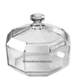 Sugar bowl with lid by Arcoroc France, Luminarc Octime, clear