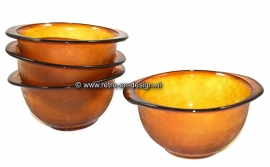 Soup bowl in brown glass, Amber