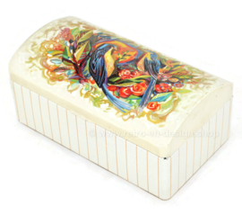 Vintage tin with rounded hinged lid and an image of birds and flowers