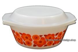 Vintage Arcopal Lotus casserole, orange flower pattern