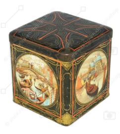Boîte à cacao vintage carrée en forme de cube avec des images de Venise pour C.J. VAN HOUTEN