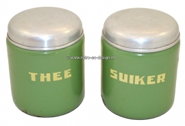 Enamel storage canisters in Reseda green for tea and sugar