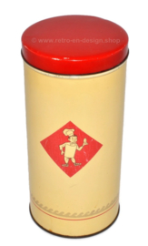 Light yellow vintage biscuit or rusk tin by Bolletje with red lid