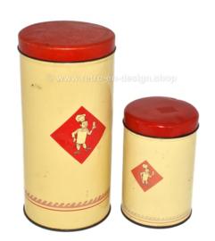 Conjunto vintage de dos latas de Bolletje con el panadero sonriente