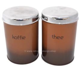 Satz von zwei Vintage Brabantia Vorratsbehältern für Kaffee und Tee, brauner Schatten