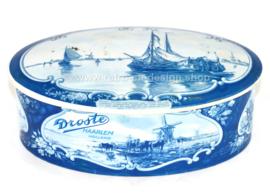 Ovale Vintage Dose Schokoladendose in Delfter Blau für DROSTE