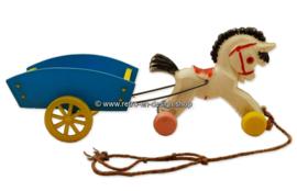 Plastic paard en wagen jaren  '50 - '60 kinderspeelgoed