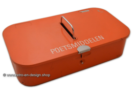 "Vintage Brabantia cleaning box, inscription ""Poetsmiddelen"""