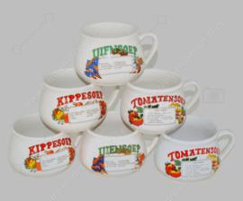 Vintage jaren 70 aardewerk soepkommen met oor voor tomaten-, kippen- en uiensoep. Set van zes