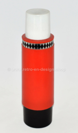 Vintage rode jaren 70 thermoskan met zwarte details