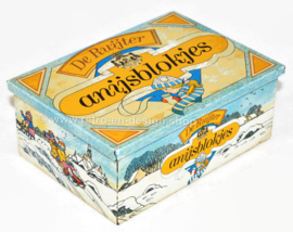 Rectangular vintage tin box with a winter scene for anise cubes by De Ruijter