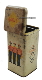 "Vintage ""Stereo"" biscuit tin with three piccolo's or bellboys"