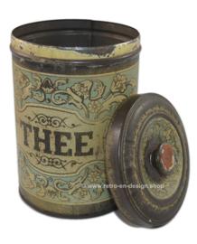 Oude brocante ronde blikken theebus