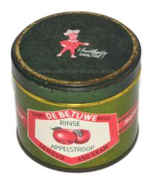 Blikje voor Rinse appelstroop Kon. Mij de Betuwe Tiel, inh. 450 gram met afbeelding van Flipje