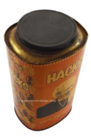 Large rare vintage HACKS tin in the color orange
