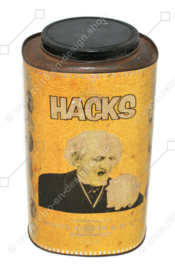 Große verwitterte Vintage HACKS Dose mit schöner Patina und Bild eines niesenden Mannes