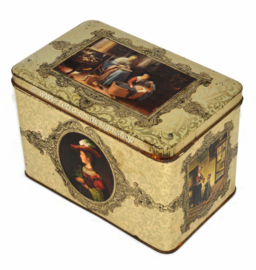 Vintage tin with images of old master paintings