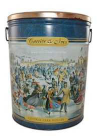 Large vintage tin drum, Currier and Ives - Central Park Winter
