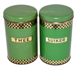 Brocante set of stock tins by AJP - Niemeyer for Sugar and Tea in reseda green