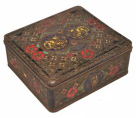 Vintage Blechdose von Niemeijer KOFFIE en THEE, erkend de beste. Mit östlichen Motiven, Drachen, Wajang und Blumen