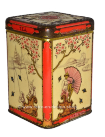 Vintage tea tin with embossed Oriental scenes for NIEMEYER