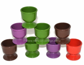 Vintage set of 8 egg cups in various colours