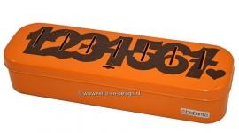 Orange Brabantia household money box. Numbered 1 till 7
