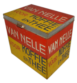 Large rectangular Van Nelle storage tin for coffee and tea in yellow-red-blue