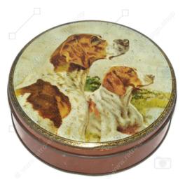 Boîte vintage ronde par A.S. WILKIN Ltd. avec l'image de deux pointeurs anglais