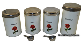 Vintage Brabantia set of tins for Coffee, Tea, Sugar and Biscuits