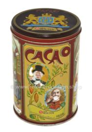 Van Houten vintage cacaoblik 1828 met nostalgische afbeeldingen