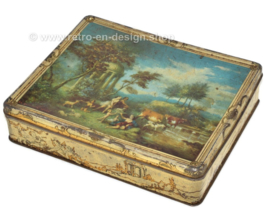 Vintage rectangular tin with image of a painting by Vernon de Beauvoir Ward