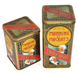 Set of two vintage tins for Mannings & Mackay's Cough Drops.