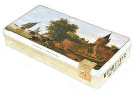 "Rectangular cigar tin by Ritmeester with image of the painting ""River view with ferry and bastion"" by Salomon Jacobsz van Ruysdael"