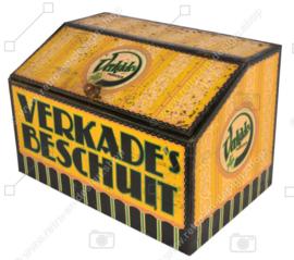 """Lata grande amarilla para mostrador de tienda vintage """"VERKADE'S RUSK"""""""