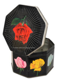 Octagonal vintage tin with various roses