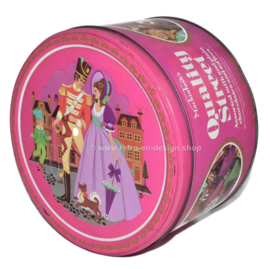 Vintage grote ronde paarse blikken trommel Quality Street Mackintosh